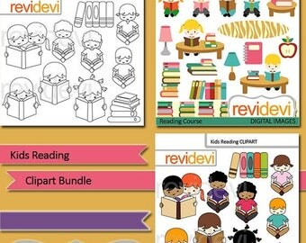 35% OFF SALE Kids reading clip art bundle / kids sitting reading books, library / digital clip art / commercial use clipart