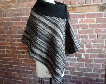 Wool Cape, Cloak, Wool Poncho, Striped, Asymmetrical, Boho Poncho, Brown, Black, Gray, Fleece, Blanket, Women's, Gift for Her, OOAK
