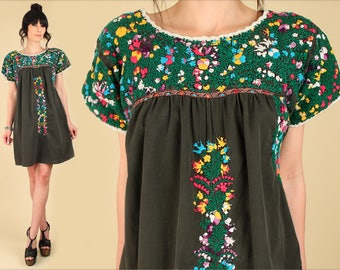 ViNtAgE 70's Oaxacan Dress // Mexican Embroidered MiNi Tunic Dress // Floral Cotton // Artisan Made Summer HiPPiE Flowers Large L