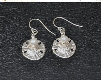 Dangle Earrings, Sterling Silver, Freshwater pearls, Sand Dollars-Under the sea, 925 Sterling Silver, Nautical Earrings