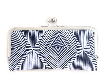 Navy Geometric Cell Phone Wallet Clutch with Kisslock Frame Closure in Graphic Lines Printed Cotton