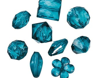 Teal Bead Assortment, 12mm to 15mm, 1mm hole, pack of 200