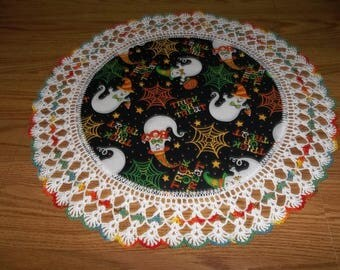 Crocheted Halloween Doily Halloween Ghosts Spider Web Trick or Treat Candy Stars Fabric Center Doilies Crocheted Edging One Of A Kind Gift