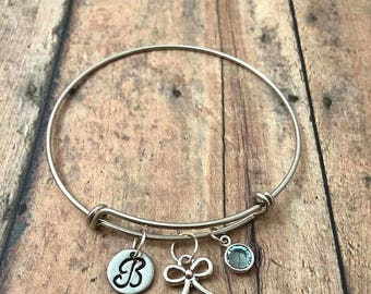 Bow and birthstone initial bangle - bow bangle, silver bow jewelry, birthstone jewelry, ribbon pendant, hair bow jewelry, bow bracelet