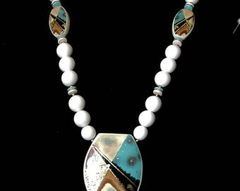 Ceramic Necklace for Ladies, 26 inch White Summer Beads with Large pendant