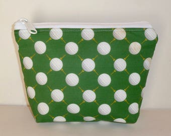 Zippered Pouch - Makeup Bag - Golf Accessories - Golf Ditty Bag - Cosmetic Bag - Gifts for Golfers - Golf Gifts for Women - Gifts under 15