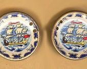 vintage ENAMEL CONNECTORS viking boat motif in a circle connectors or shapes brass, viking boat picture