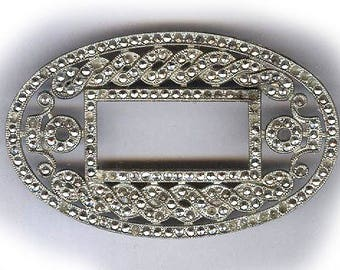 vintage art deco MARCASITE FINDING like a small picture FRAME, repurpose, bridal, oval shape antique marcasite finding