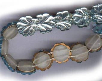 vintage FOIL czech glass beads shell leaf or flower shape EIGHT beads four holes on each side camphor glass matte finish white glass back