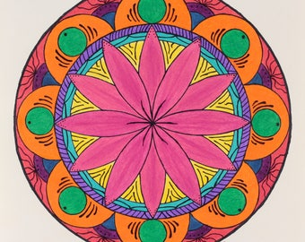 Colorful Flower Mandala Original Drawing Mandala Wall Art