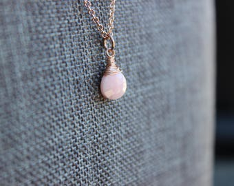 Pink Opal Rose Gold Necklace