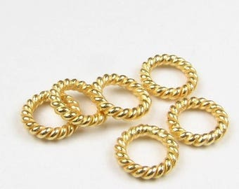 SHOP SALE 6mm 24k Bali Gold Vermeil Closed Twist Rings, Closed Jump Rings, Jewelry Making Findings, Beading Supplies  (10 beads)
