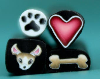CHIHUAHUA Set of 4 Polymer Clay ITTY-BITTY Canes, One Inch Length -'Puppy Love' (ss)