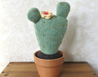 Plush Blooming Prickly Pear Cactus, Eco Friendly Home Decor, Stuffed Cactus Pincushion