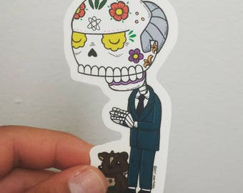 Mr Burns Calavera Clear Die-cut Vinyl Sticker Day of the Dead