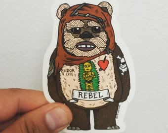 Rebel Ewok Die Cut Clear Vinyl Sticker