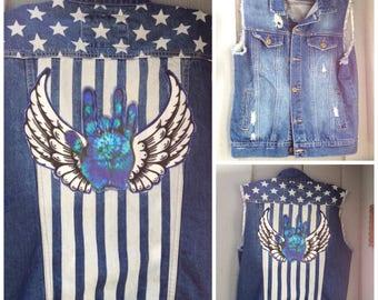 Men's Grateful Dead Vest, Ready to ship, hippie vest, Vest, Denim vest, Small Medium L Grateful Dead