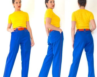 SUMMER SALE / 20% off Vintage 50s 60s Royal Blue High Waisted Felt Marching Band Trousers with Red Piping (size medium)