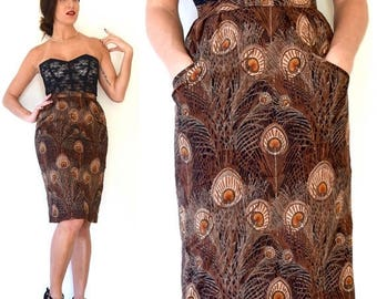 SUMMER SALE / 20% off Vintage 70s 80s Peacock Print High Waisted Hourglass Silhouette Wool Pencil Skirt (size xs, small)