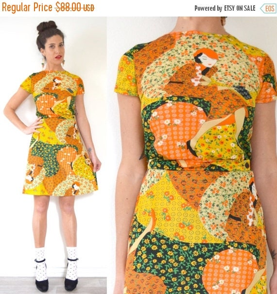 SUMMER SALE / 20% off Vintage 70s Novelty Calico Print Top and Skirt 2 Piece Set