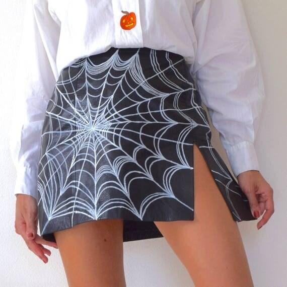 Vintage 90s Custom Spiderweb Painted Black Leather High Waisted Mini Skirt (size medium)