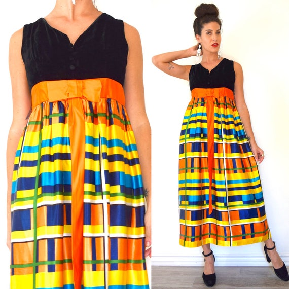 Vintage 60s 70s Candy Corn Queen Rainbow Plaid Empire Waist Maxi Dress (size medium)