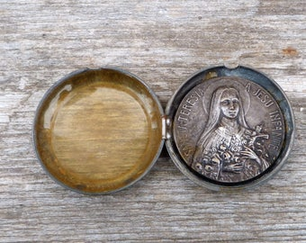 Vintage Antique French  watch holder pocket with Sainte therese plaque /Religious /Christianity