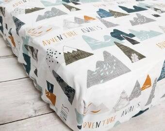 White Adventure Awaits Fitted Crib Sheet for Baby Boy or Girl Nursery - Adventure Awaits Fitted Crib Sheet - Mountain Fitted Crib Sheet -