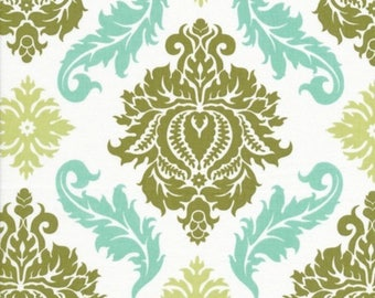 HALF YARD - Joel Dewberry Fabric, Aviary 2 Collection, Damask in Dill, Green Blue, cotton quilting fabric -  SALE