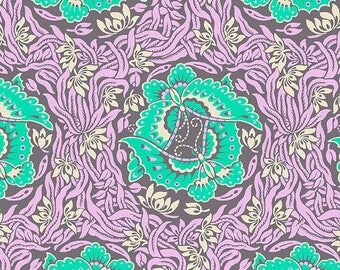 HALF YARD - Amy Butler Fabric, Violette, Take Flight, Zinc, Floral, cotton quilting fabric