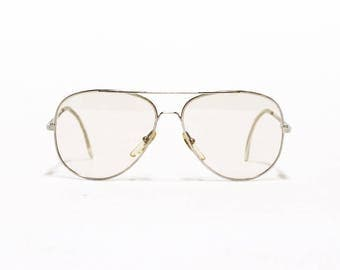 Silver Aviator Vintage Eyeglass Frame, Metal eyewear, Spring Hinges, VISTABAN Kirk  in new old stock condition - Free Shipping