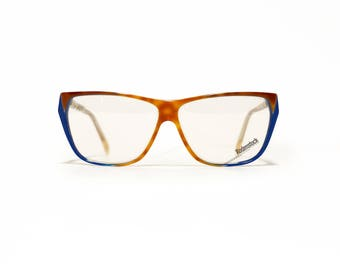 80s Deadstock RODENSTOCK vintage eyeglasses frame, German womens eyewear in tortoise and blue new in old stock condition