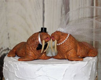 Walrus Cake Topper, Wedding Cake Topper, Animal Cake Topper, Bride and Groom, Unique-Funny-