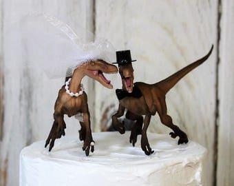 Dinosaur Wedding Cake Topper, Velociraptor Cake Topper, Dinosaurs-Jurassic Park-Prehistoric Bride and Groom Animal Cake TopperWedding Topper