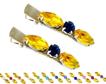 Yellow Rhinestone Hair Clips - Yellow Crystal Hair Clips, Yellow Hair Jewelry, Yellow Hair Accessories
