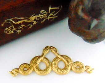 BRASS * Double Motif SNAKES Stamping ~ Jewelry Ornament Findings ~ Raw Brass Stamping (C-509)