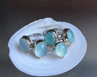 Aqua Chalcedony ring, Gemstone ring, Aqua stone ring, Sea Green  ring, Stacking Ring, Sterling Silver Ring, Crystal Ring, Best Friends Ring