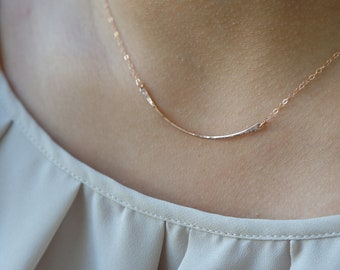 Dainty Necklace Rose Gold Necklace Layered Necklace Jewelry for Her Curved Bar Necklace Dainty Necklace Jewelry Gift Summer Jewelry