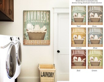 Havanese dog Laundry Company basket illustration graphic art on canvas by stephen fowler