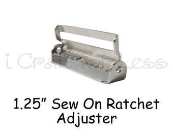 "25 - 1.25"" Suspender Slide Adjusters / Ratchet Slides with Teeth - Nickel Plated - SEE COUPON"