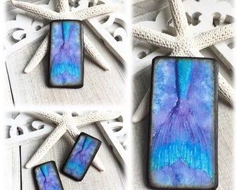 Dance of the Mermaids - Watercolor Waltz Blue Purple Wafer ART Tile Pendants or Earring Charms