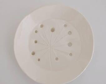 Wild Chloe handmade white ceramic soap dish