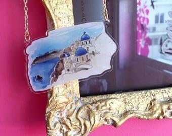 "SANTORINI  ""darling sweet life"" 2017 laser cut silkscreen print necklace, plexiglass, acrylic, perspex"