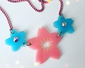 Pastel SAKURA Blossom laser cut necklace