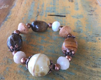 Handmade Stretchy Bracelet in Gorgeous Brown Tones! Semi-Precious Stones and Copper and Pearl-esque Accent beads