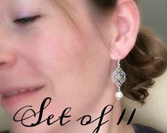 Filigree bridesmaid earrings set of 11 pairs of earrings, antiqued silver earrings, white pearl, ivory pearl earrings, bridesmaid jewelry