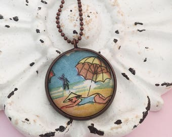 Beach Scene Necklace, Vintage Sunbathing Image Pendant, Ocean Wave Jewelry, Beach Travel Souvenir