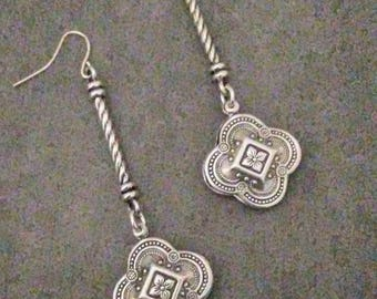OOAK Antique Silver  Earrings Bohemian   By Red Gypsy Jewelry