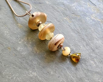 Desert Sands Lamp Work Beaded Pendant, Lampwork Beads Sterling Pendant, Neutral Silver Necklace