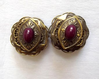 Vintage GJD Earrings Clip Ginnie Johansen Designs 1980s Bold Jewelry Shabby Chic Antiqued Gold Dark Red Acrylic Cabochons